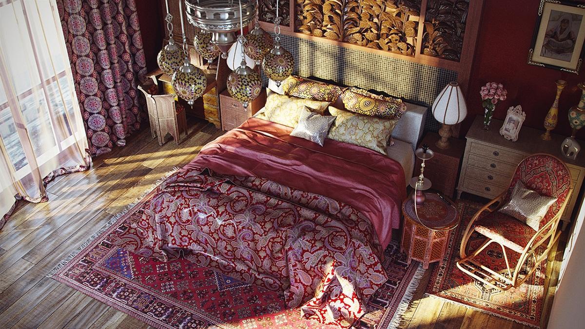 В качестве украшений для спальни, сделанной в восточном стиле, отлично подойдут старинные вазы, картины с объемной рамкой или традиционные восточные ковры