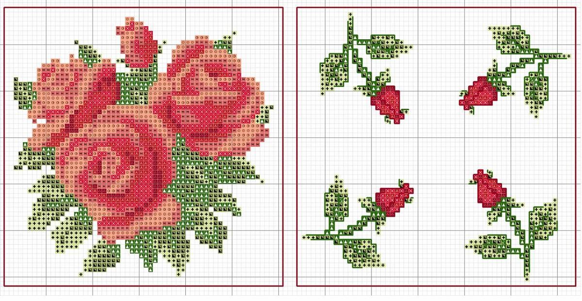 Большинство схем для вышивания розы предусматривают использование ниток красного и зеленого цвета