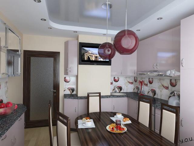 Конструкции потолка из гипсокартона зрительно уменьшают его высоту, но благодаря достаточной площади кухня не выглядит маленькой