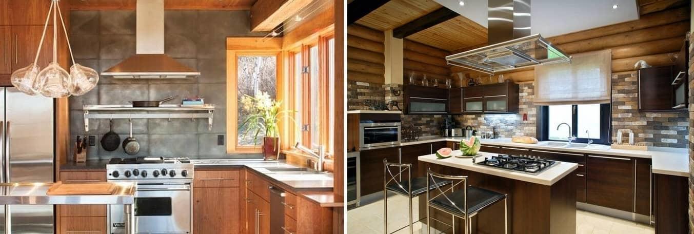 Кухня в доме из дерева особенно привлекательна, поэтому ее интерьер должен обладать индивидуальностью и смелыми дизайнерскими решениями