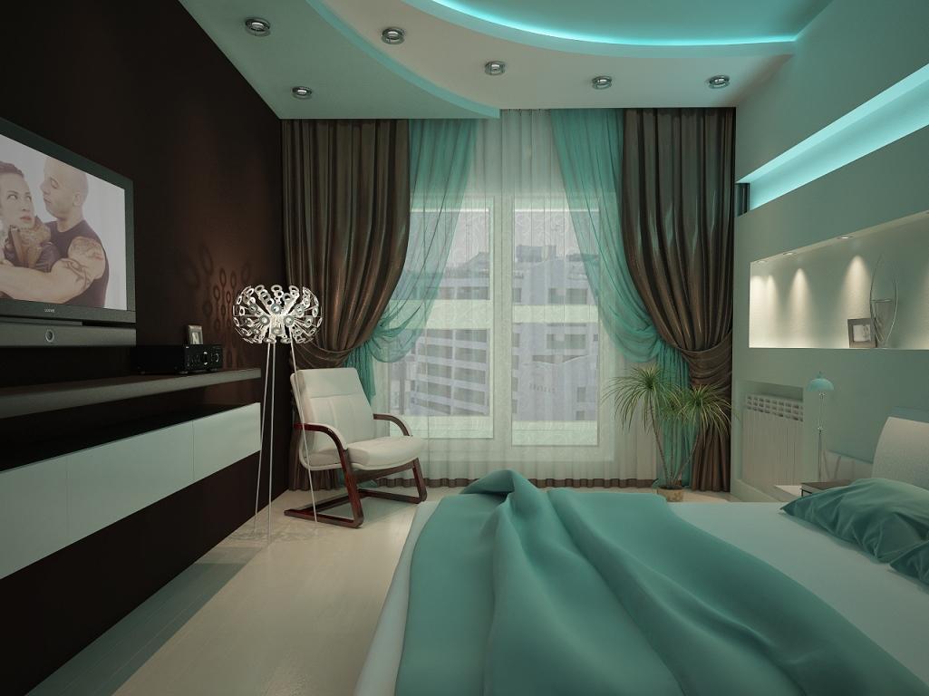 Наиболее подходящим вариантом для оформления спальни станут обои и спальный гарнитур шоколадного оттенка