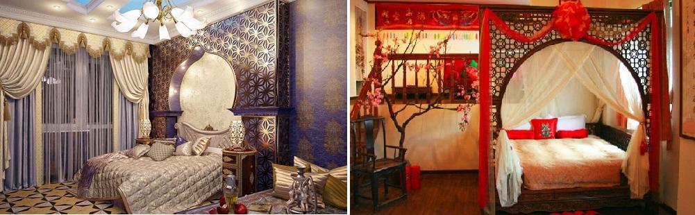 Если комната не очень большая, стоит обратить внимание на ее оформление в восточном стиле, используя изящный и дорогой декор