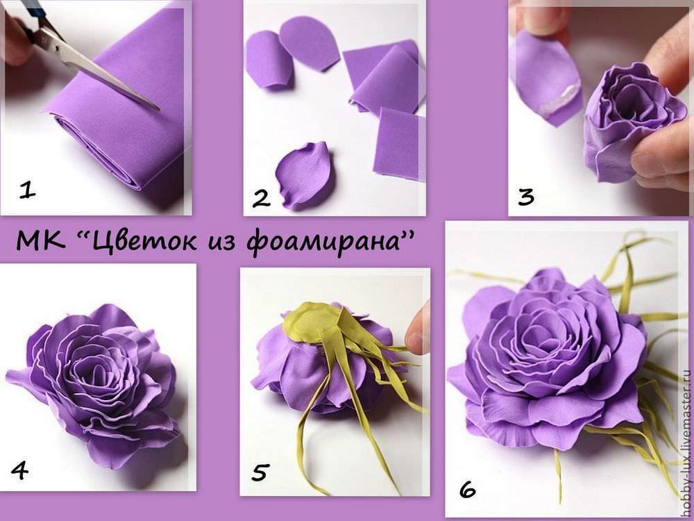 Другой способ сборки розы из фоамирана заключается в формировании не лепестковых рядов, а каждого лепестка непосредственно и накручивании элементов на бутон