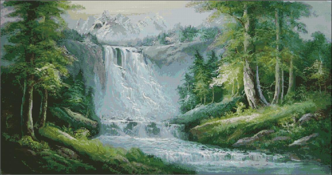 Вышитый водопад привлекает в дом удачу