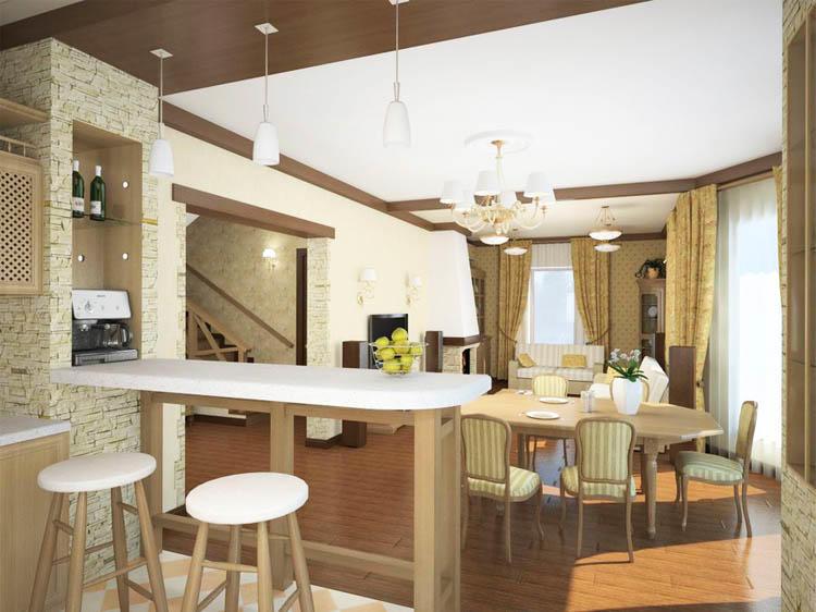 Если хотите, чтобы кухня-гостиная была разделена частично, без нагромождения, то рекомендуем использовать барную стойку. К тому же, такой вариант будет очень функциональным