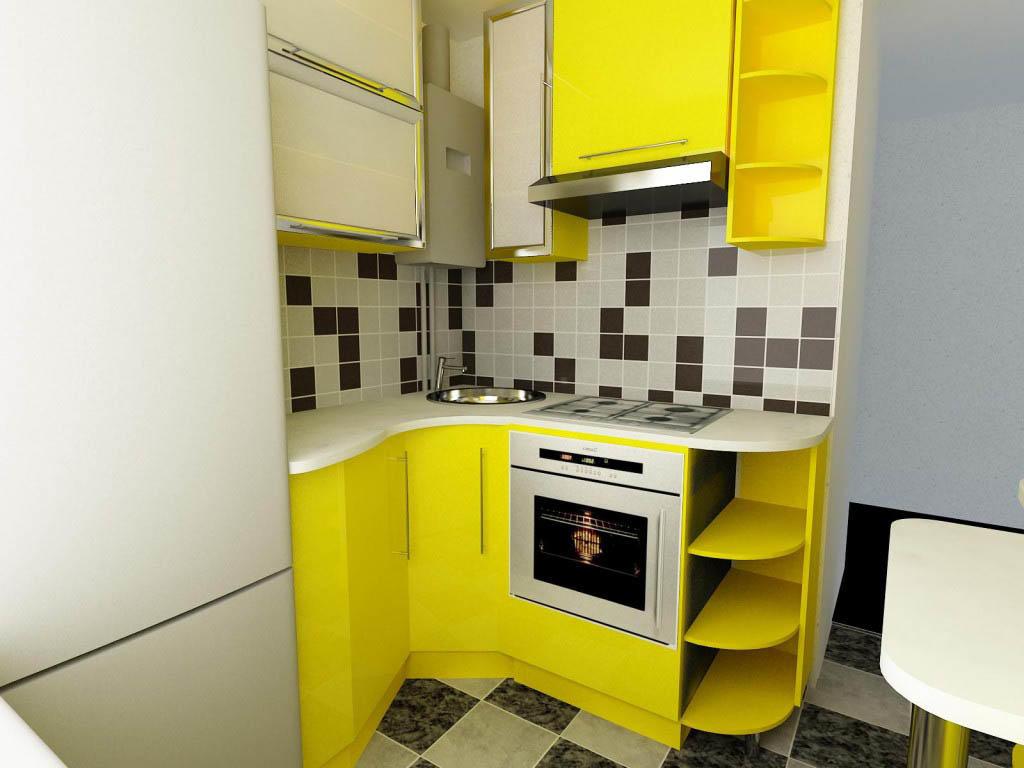 Готовый гарнитуры, как правило, не вписываются в планировку маленьких кухонь. Поэтому рекомендуем создать проект самостоятельно или обратиться к дизайнеру от фирмы, которая занимается изготовлением гарнитуров