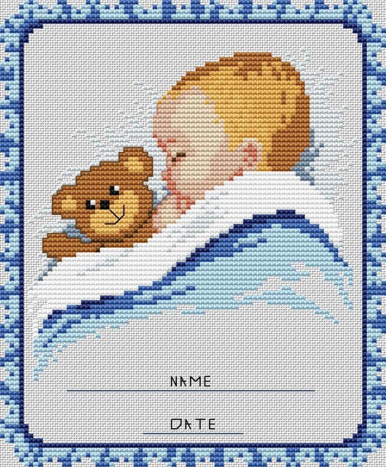 При вышивании детской метрики для мальчика обычно используют синие и голубые оттенки ниток