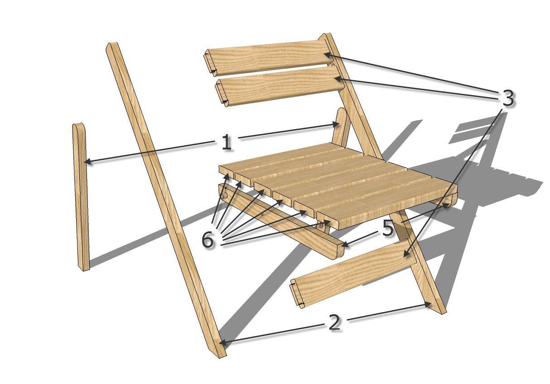 Предлагаем вам воспользоваться данной схемой и изготовить складывающиеся стулья для кухни своими руками