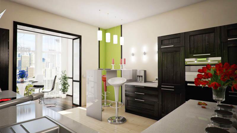 Дизайн объединенной кухни с балконом предоставляет большой простор для творчества. К тому же, не обязательно использовать одинаковое оформление в обеих зонах
