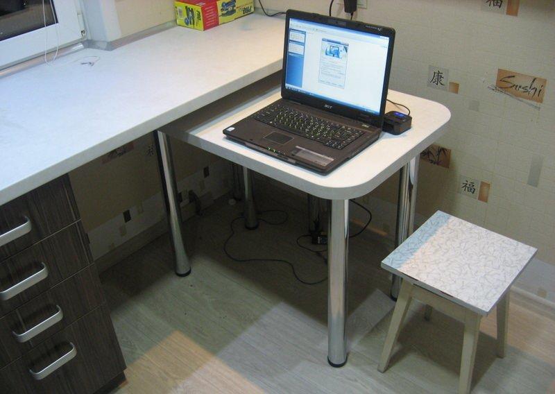 Выносные консоли трансформирующейся мебели не займут лишнего прострнаства в кухне с площадью 5 5 кв. м