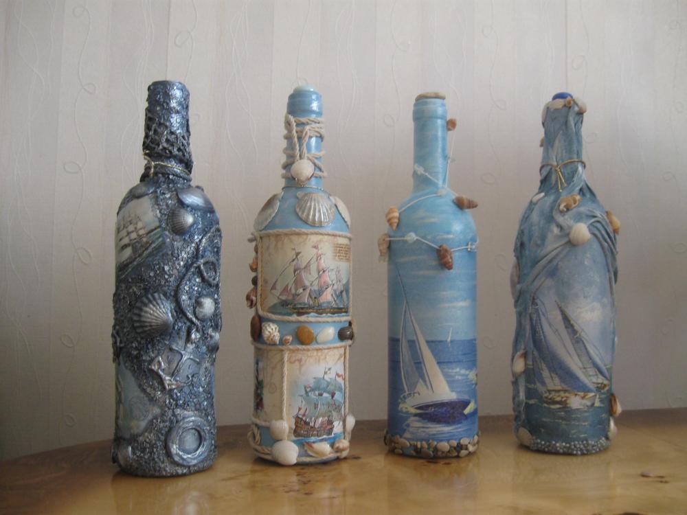 Бутылки с морским декупажем станут отличным подарком как для взрослых, так и для детей