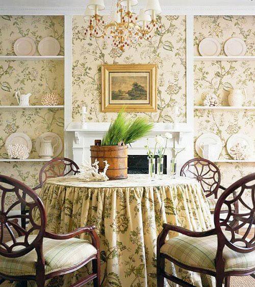 Очень выгрышно во французской кухне будет выглядеть скатерть, выполненная в тон стенам