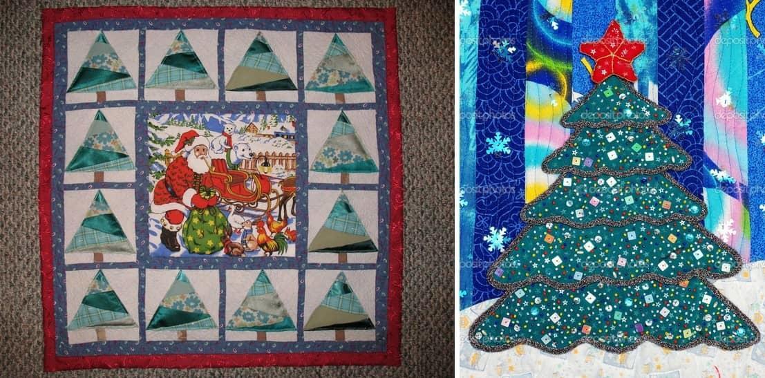 Новогоднее панно из ткани идеальный вариант для украшения вашей комнаты в новый год