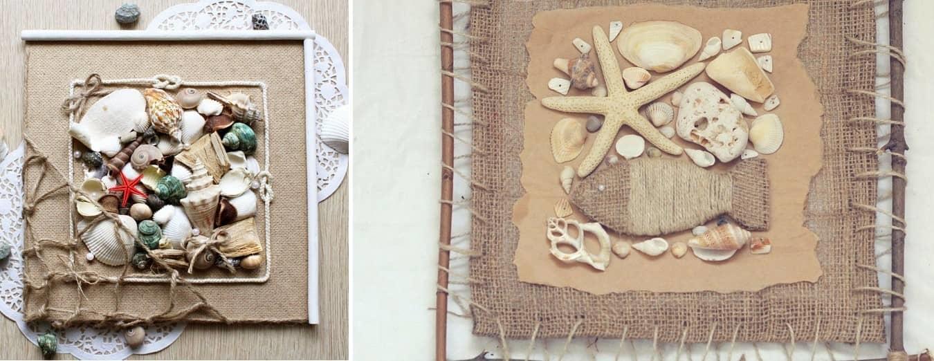 Благодаря разнообразию форм и цветов ракушек, панно может получится оригинальным и красочным