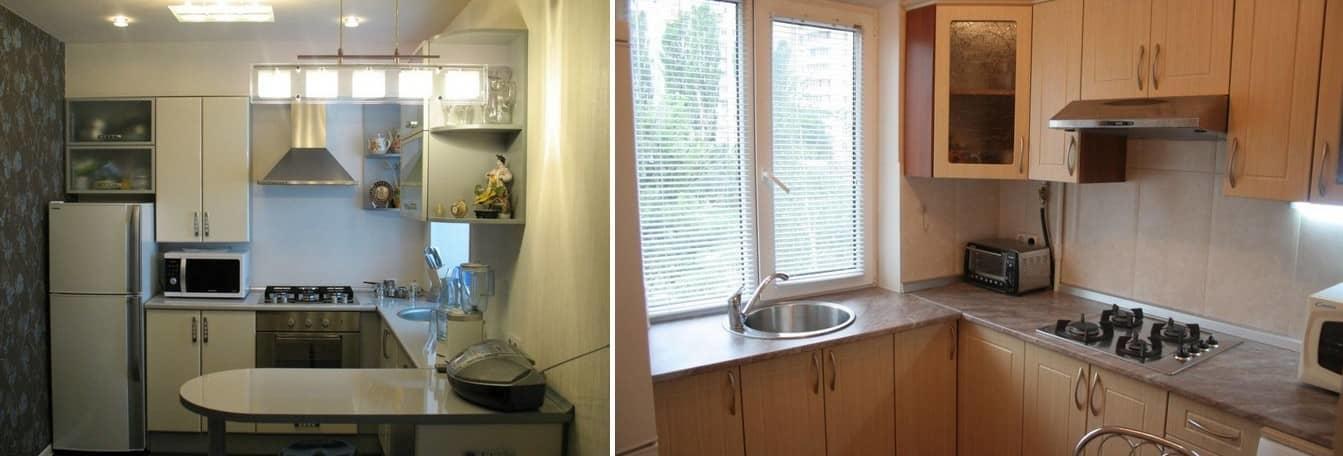 При правильной планировке кухни в хрущевке, можно создать больше места для хранения необходимых принадлежностей