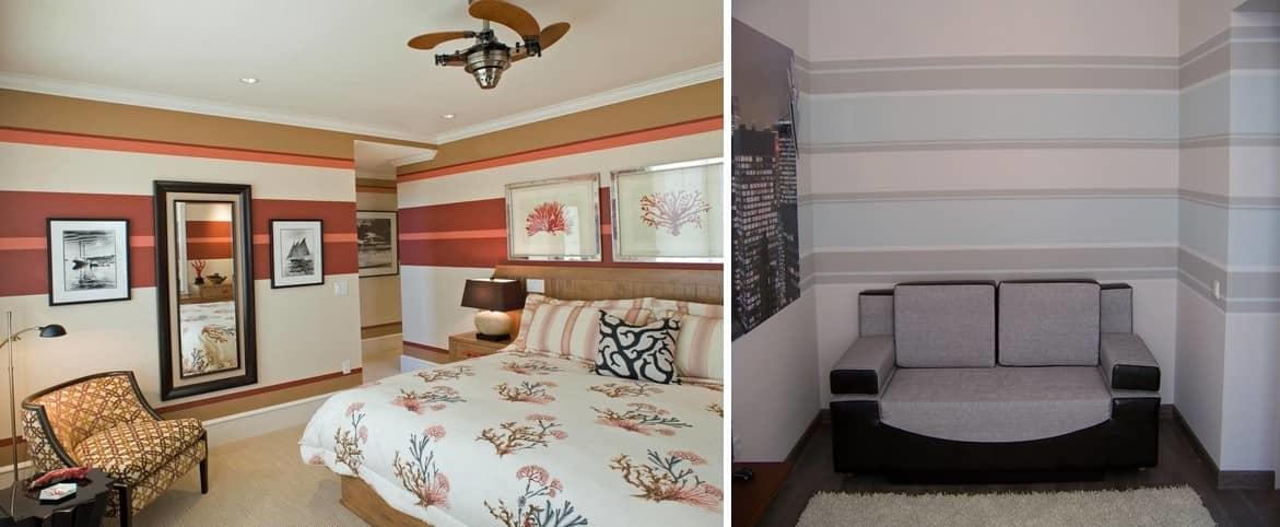 Горизонтальные полосы сделают комнату шире, но потолок при этом визуально будет казаться низким. Этот вариант пригодится, если ваша комната маленькая или узкая
