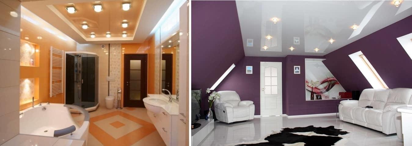Натяжной потолок не боится влаги, обладает отличной тепло- и звукоизоляцией