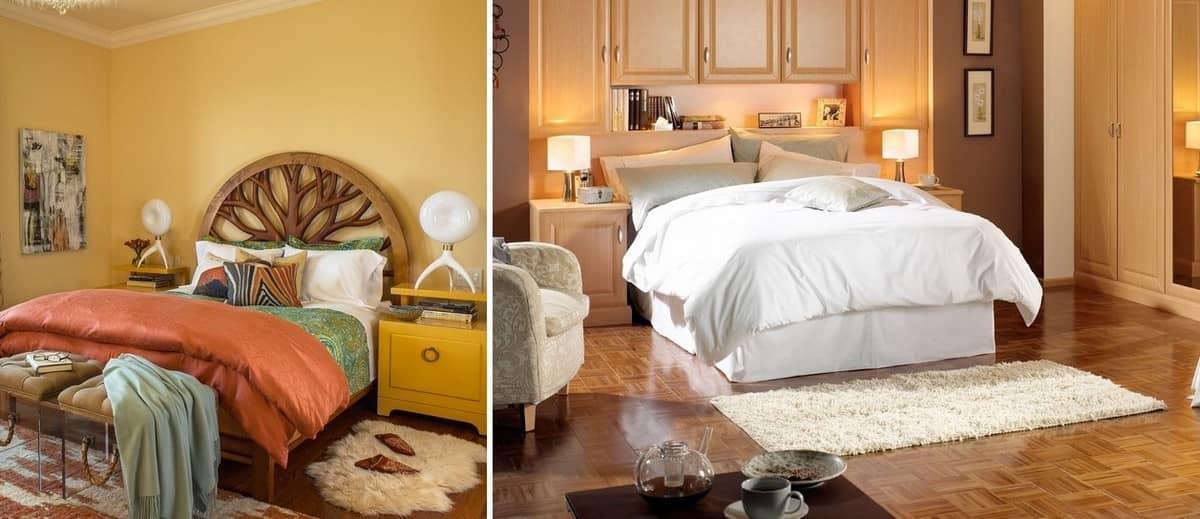 Популярным вариантом для спальни является небольшой прикроватный коврик, расположить который можно у подножья кровати