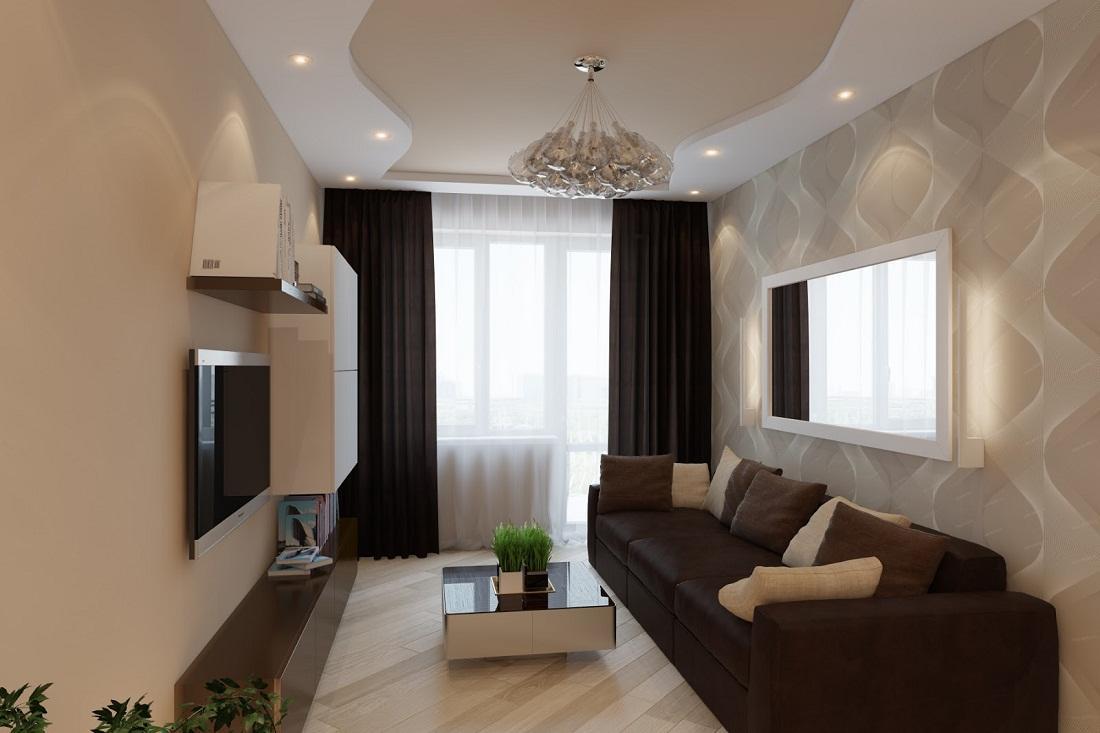 Отлично сочетаются стены бежевого оттенка и предметы мебели коричневого цвета