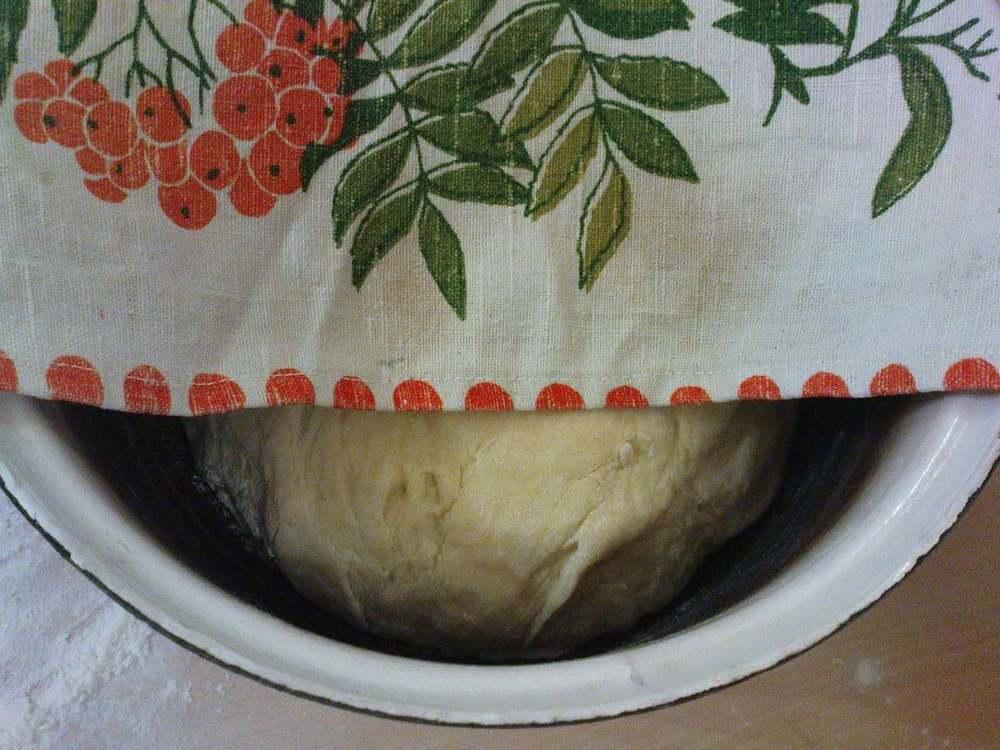 Тесто необходимо поставить на 30 минут в теплое место, накрыв его салфеткой