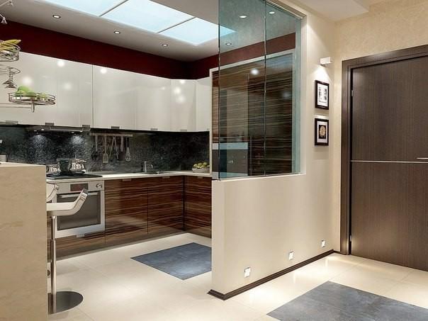 Г-образная планировка в кухне-гостиной полностью соответствует принципу треугольника, когда все нужное всегда под рукой