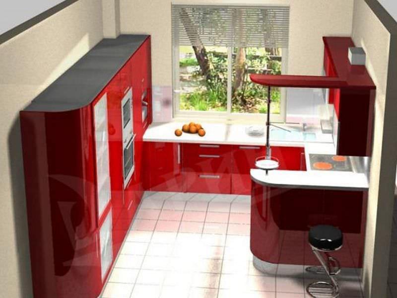 Полукруговое расположение мебели на кухне можно дополнить барной стойкой, отделяющей зону кухни от столовой