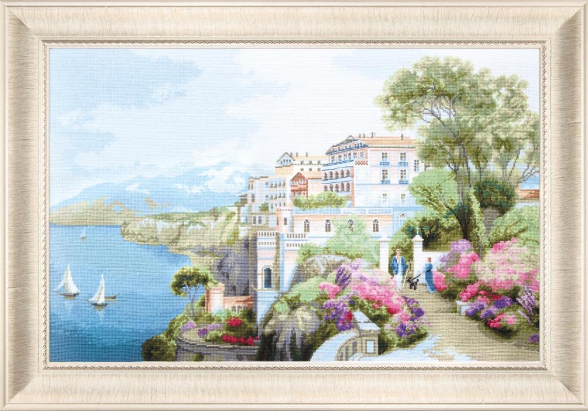 Красивая картина с вышитым пейзажем прекрасно впишется в интерьер гостевой комнаты