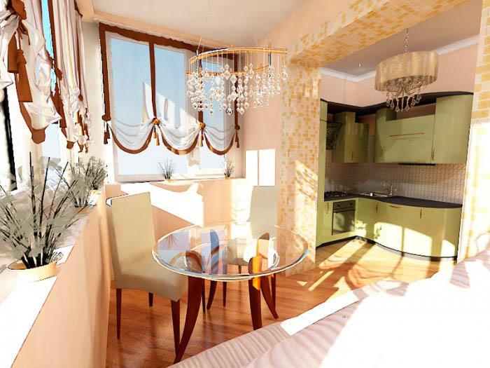 Довольно популярный вариант - объединение маленькой кухни и балкона. В этом случае выигрывают оба помещения, образуя одно комфортное