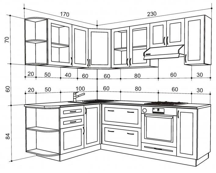 Сначала рисуется проект кухни с примерными набросками и идеями, затем все это переносится на чертеж с точными размерами