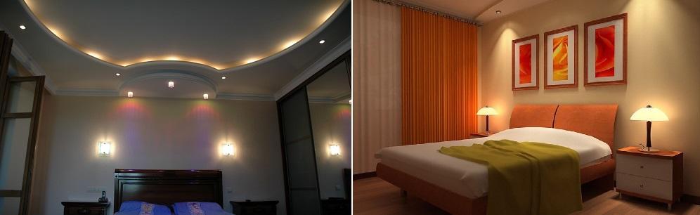 Свет в маленькой спальне может быть не только верхним, но и точечным, а также целесообразно предусмотреть ночную подсветку на прикроватной тумбочке