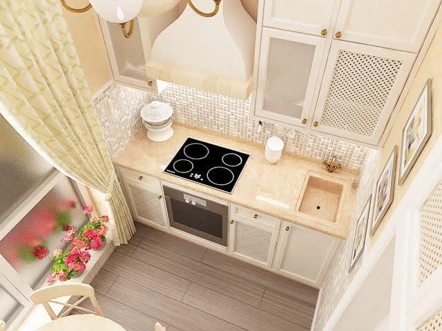 Линейная планировка удобна для кухни, включающей в себя выход на балкон