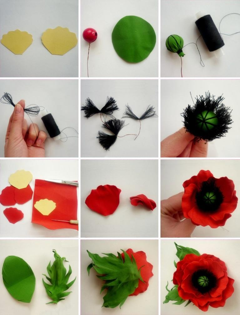 Для изготовления маков следует приобрести красный и зеленый фоамиран, черные нитки и несколько бусин