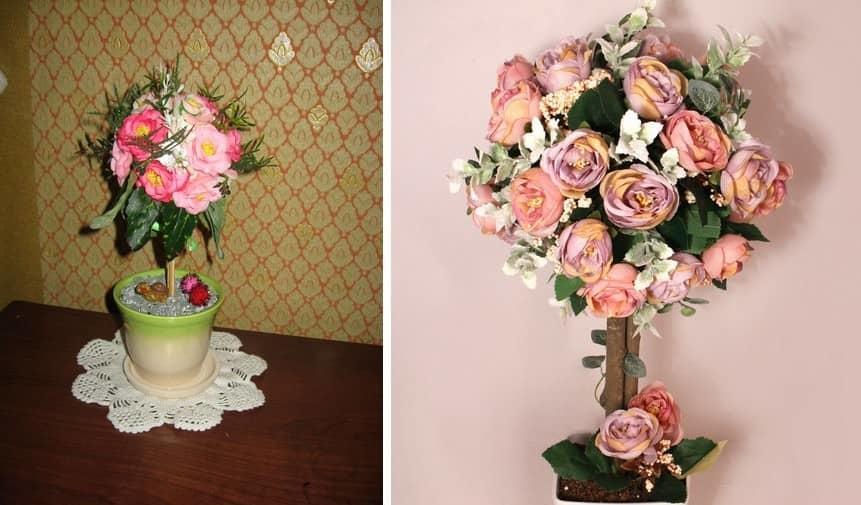 Для создания топиария из цветов можно воспользоваться как натуральными, так и искусственные материалами