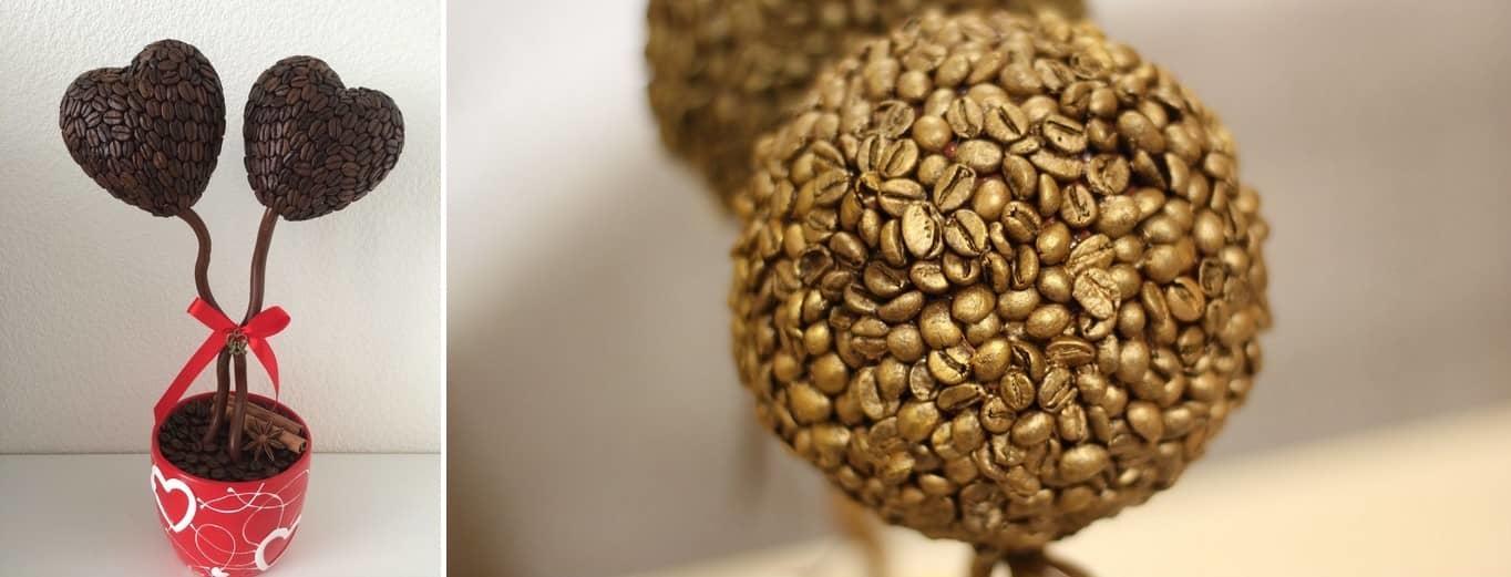 Топиарий из кофейных зерен можно поставить на кухне и наслаждаться кофейным ароматом не только по утрам