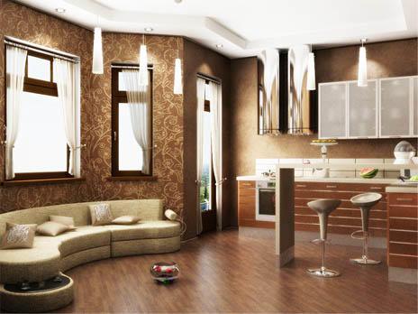 Совмещение кухни с гостиной позволяет зрительно увеличить пространство помещения и сделать его более функциональным