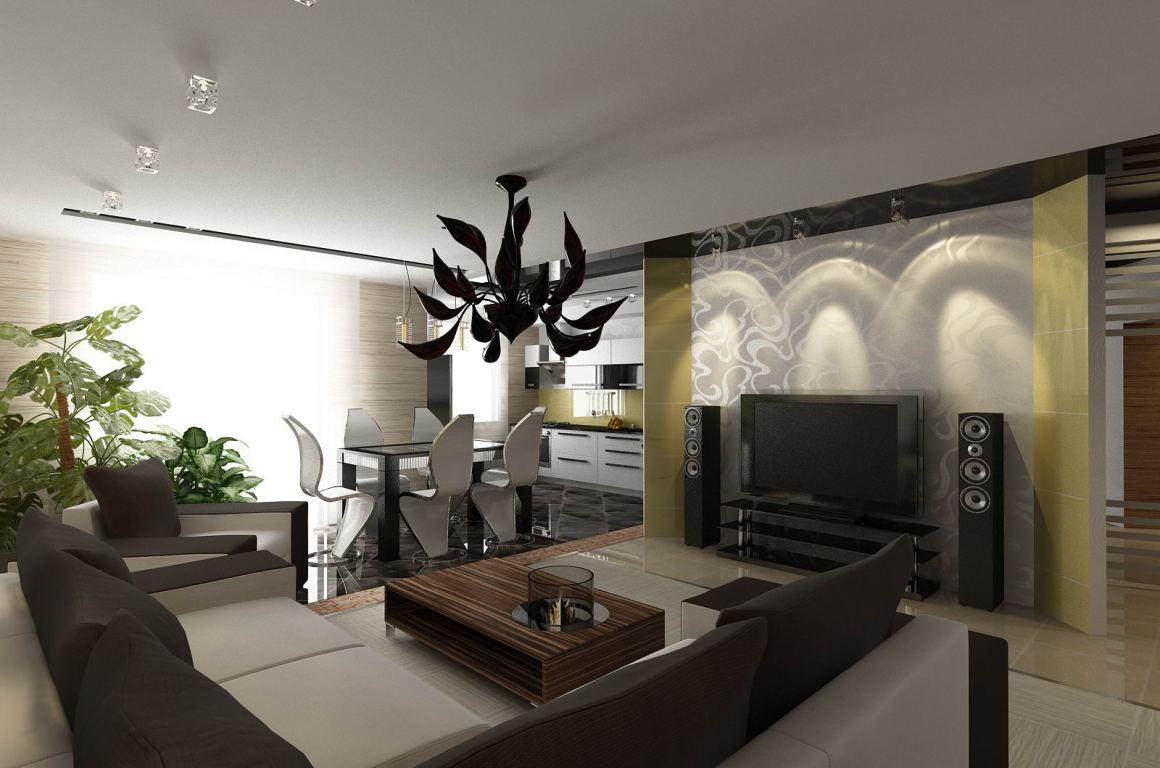 Наибольшей популярностью на данный момент пользуются смежные гостиные-столовые, оформленные в одном стиле