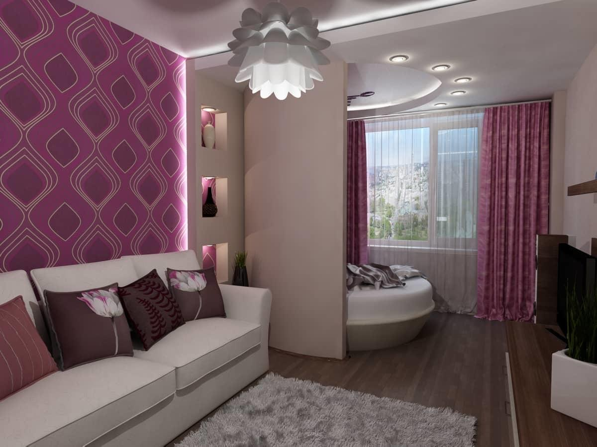 Комнату можно разделить на зоны с помощью гипсокартонной перегородки