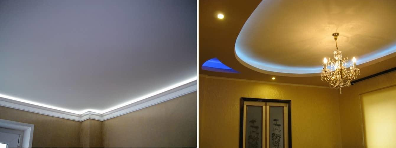 Оформление потолка лентами со светодиодами сделать можно самостоятельно, главное — правильно их установить и подключить