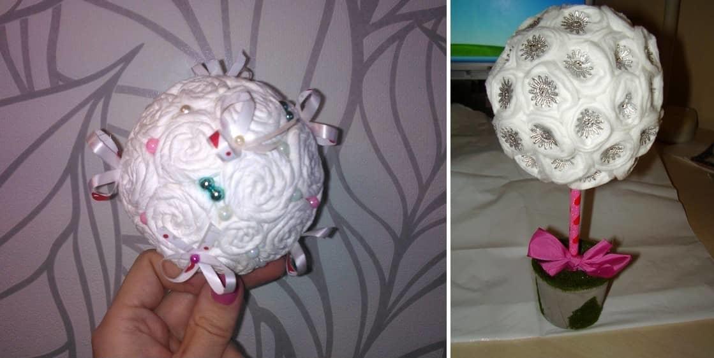 """Используя ватные диски при создании топиария """"белые розы"""", вы можете сделать подарок на любой праздник"""