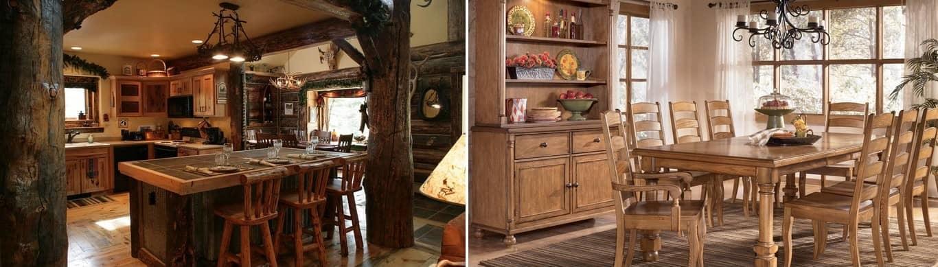 Наиболее эффектно в деревянных домах смотрится мебель, изготовленная из натуральных материалов, таких, как массив дуба, берёзы, бука, ольхи или сосны