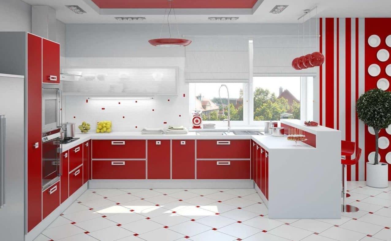 Чтобы вашу кухня не выглядела слишком пестро, лучше всего стены красить или клеять обоями в нейтральных тонах: молочный, светло-серый или бежевый
