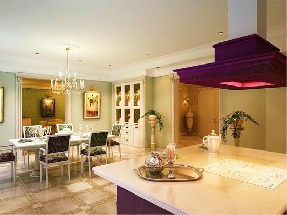 При использовании мебели в кухне-гостиной в частном доме, не бойтесь отходить от стандартов - можно смело разграничивать зоны по стилевым направлениям