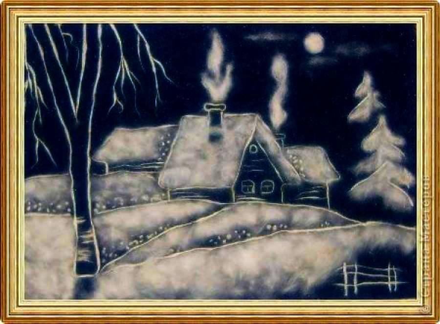 Здорово смотрится вечерняя деревня из дисков и просто из ваты. Получается, что используются только два цвета: белый цвет ваты и темный цвет фона