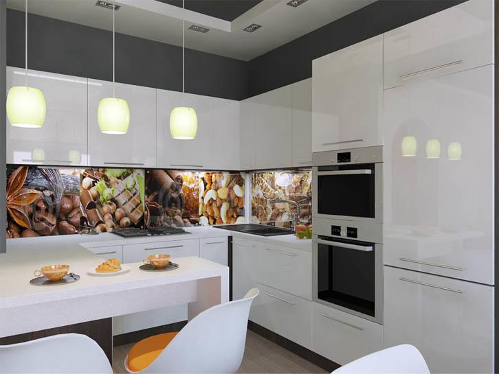 Частный дом, имеющий, как правило, большую площадь, позволяет не ограничивать себя в выборе цветовых решений. Именно поэтому фотообои на фартуке или использование скинали - это одно из лучших решений для кухни-гостиной