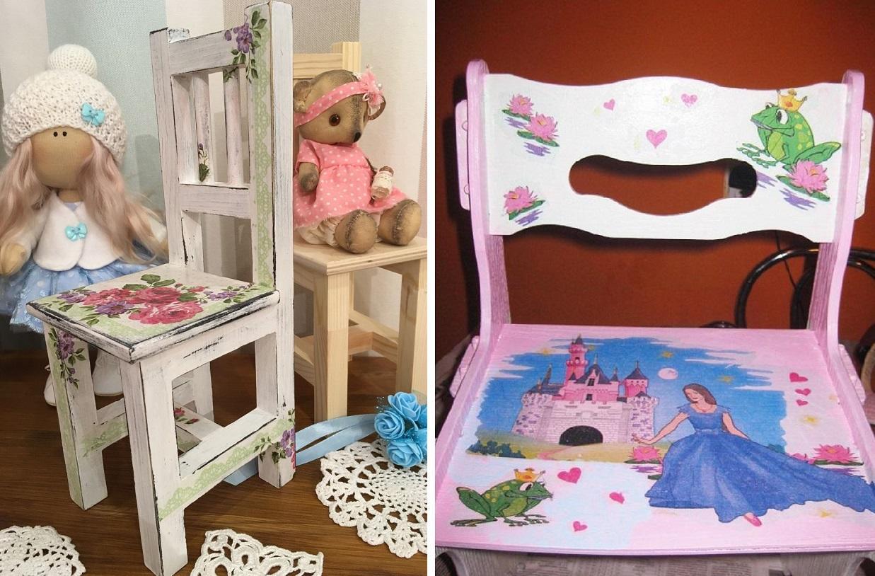 Детский стульчик отлично подойдет для украшения различными аппликациями с изображением героев любимых сказок