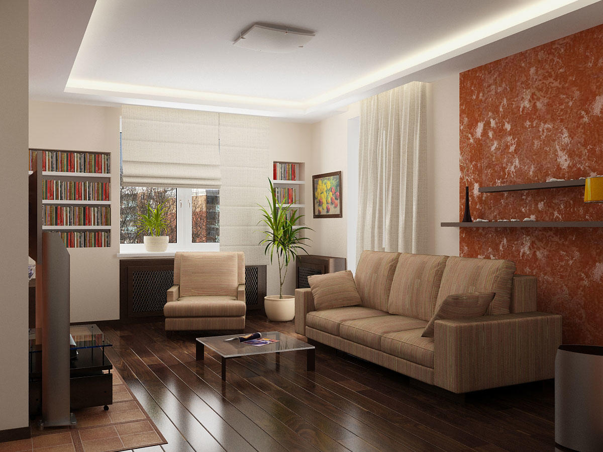 Придать гостиной уюта можно с помощью неоновой подсветки, расположенной по периметру гипсокартонного потолка
