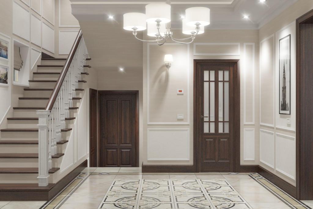 Для большой прихожей дизайнеры советуют выбирать одну красивую люстру и несколько точечных светильников, которые можно разместить по периметру подвесного потолка