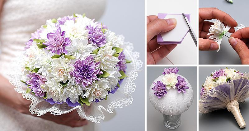 Букет невесты из фоамирана делается довольно легко и просто