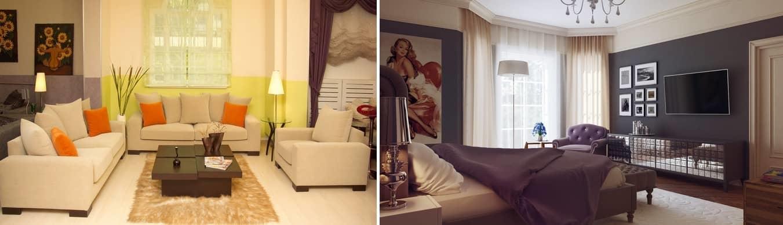 Иногда одну комнату необходимо разделить визуально, она может выполнять функции сразу нескольких комнат. Сделать это можно при сочетании разных оттенков обоев