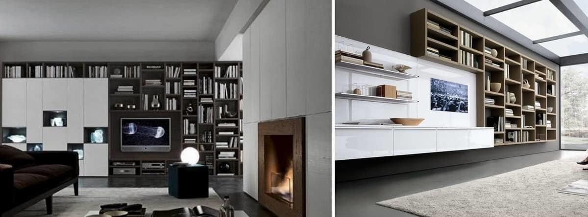 Стеллажи в гостиную — отличный способ для функционального использования пространства помещения